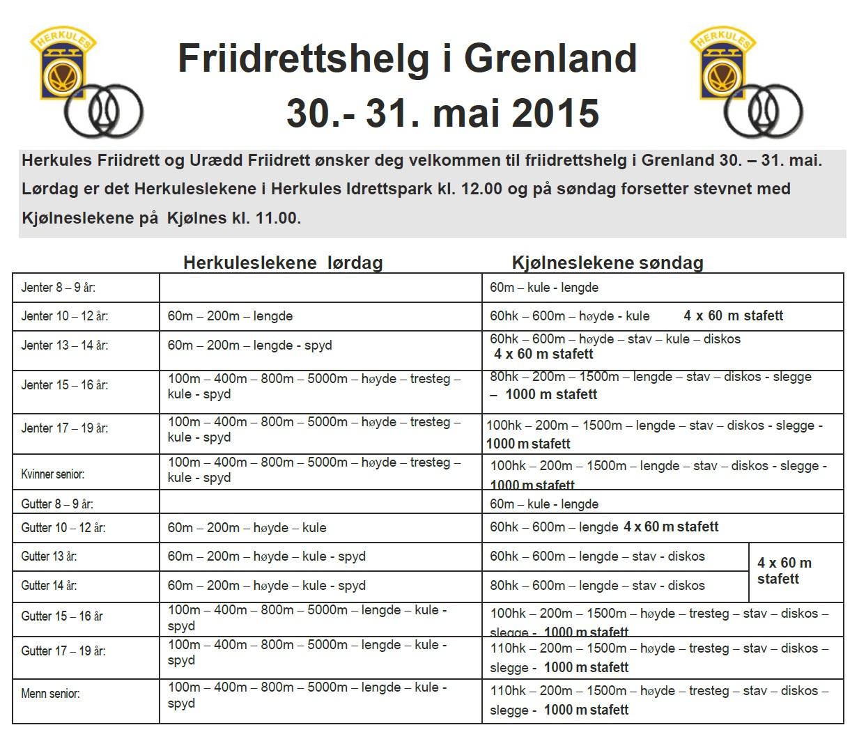 Herkules/Kjølneslekene 30/31 mai 2015